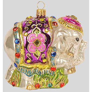 "The Whitehurst Company Jeweled Elephant 4.5"" Ornament, Glass Blown Holiday Decor"
