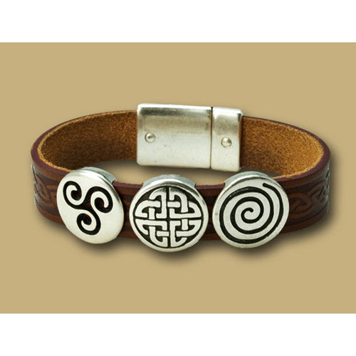 Lee River Leather Aoife 3 Charm Magnetic Cuff Bracelet Brown
