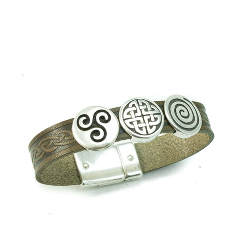 Lee River Leather Aoife 3 Charm Magnetic Cuff Bracelet Green