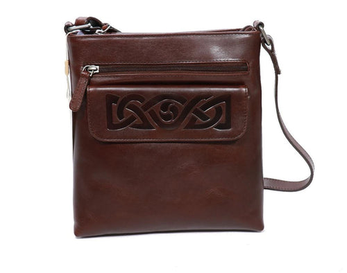 Lee River Hand Bag Crossbody Leather Embossed Celtic Weave - Made in Irelad