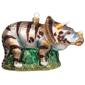 "The Whitehurst Company Triceratops 5"" Ornament - Glass Blown Holiday Decor"