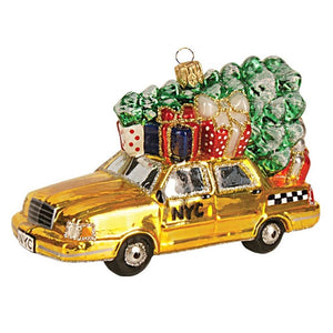 "The Whitehurst Company Taxi Cab with Tree 5"" Ornament, Glass Blown Holiday Decor"