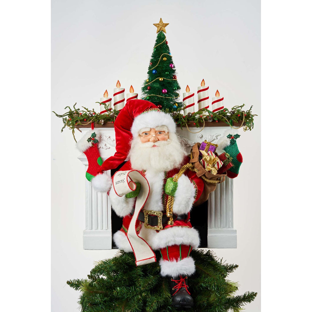 Katherine's Collection 2021 Santa Claus is Coming to Town Fireplace Tree Topper