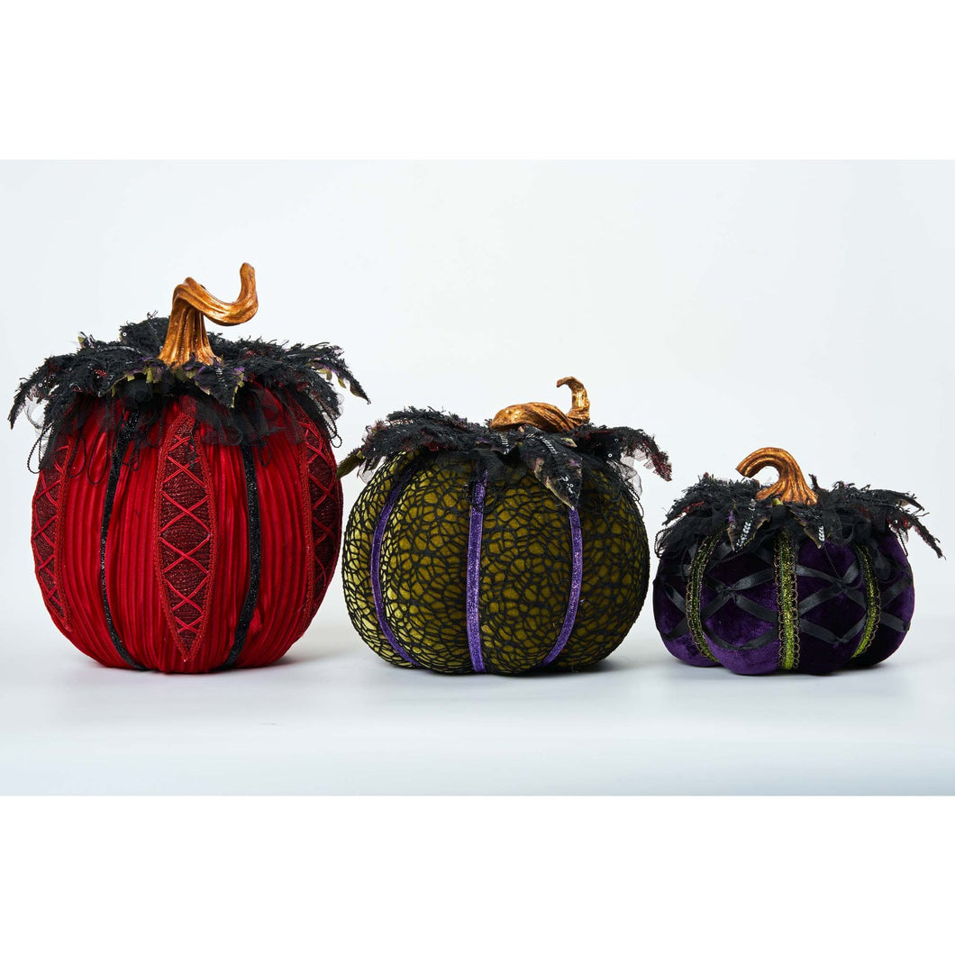 Katherine's Collection 2021 Which Way to Witchville Paper Maché Pumpkins Set of 3 Tabletop