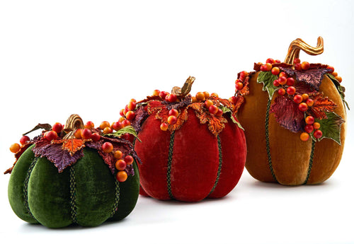 Katherine's Collection 2021 Harvest Paper Maché Pumpkins with Berries Set of 3
