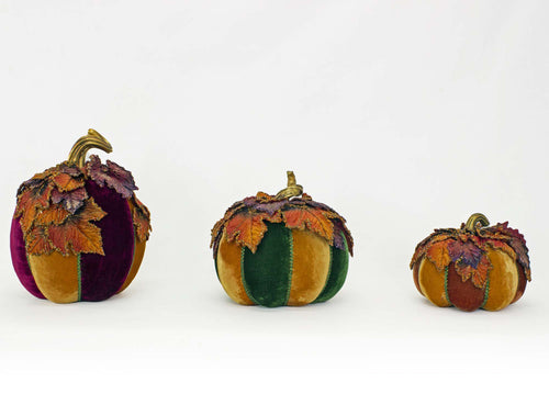 Katherine's Collection 2021 Harvest Paper Maché Pumpkins with Leaves Set of 3