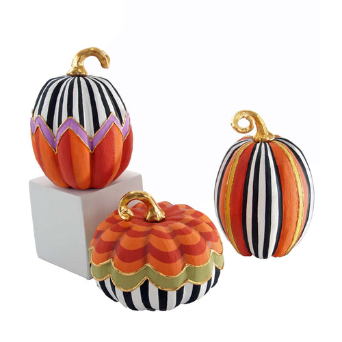 Katherine's Collection 2016 Patterned Pumpkins Decor, Set of 3