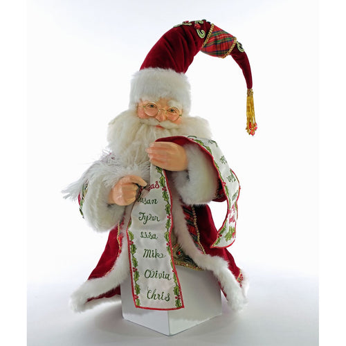 Katherine's 2020 Collection Santa with List Tree Topper