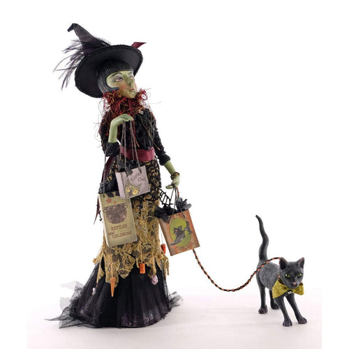 Katherine's 2020 Collection Witch Shopper With Cat Figurine