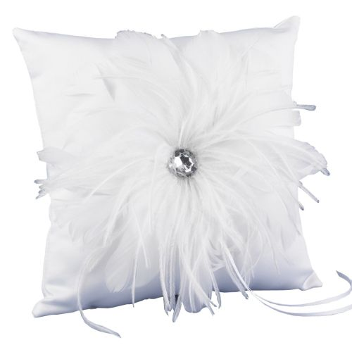 HBH Wedding Feathered Flair Ring Pillow - White