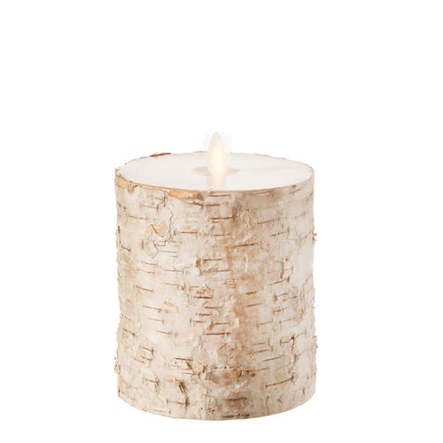 Raz Imports Moving Flame Birch Wrapped Pillar Candle