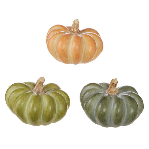 Raz Imports 2020 Fall 6.5-Inch Pumpkin Figurine, Assortment of 3
