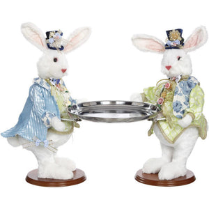 Mark Roberts 2020 Collection Two Rabbits with Tray Figurine, 19.5 inches