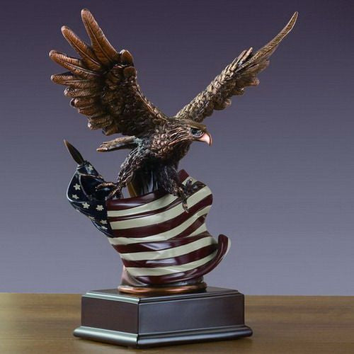 Treasure of Nature 8x10 Inches Eagle With American Flag Small