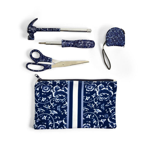 Two's Company Chinoiserie Floral Pattern Tool Set In Storage Pouch
