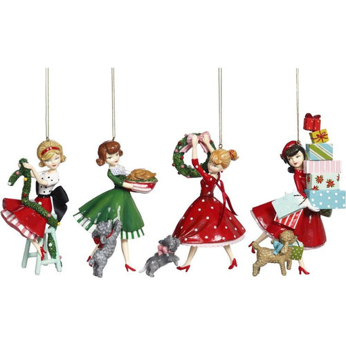 Mark Roberts 2020 Collection Dinner Girl Ornament 6 Inches, Assortment of 4