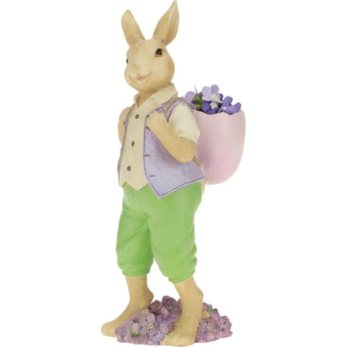 Mark Roberts 2021 Rabbit with Basket Figurine, 11 inches