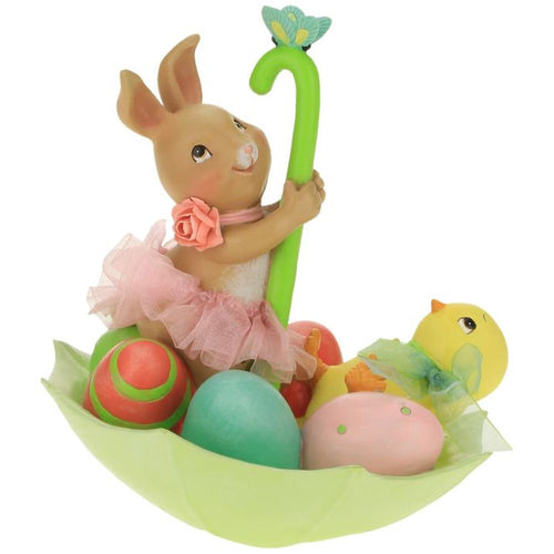 Mark Roberts 2021 Rabbit Sitting on Umbrella Figurine, 6.5 inches