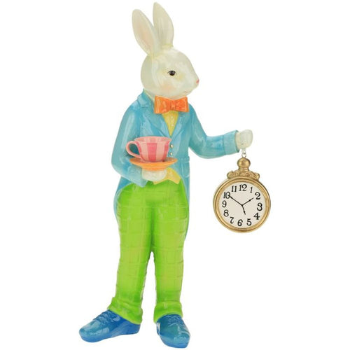 Mark Roberts 2021 Rabbit with Clock Figurine, 18.5 inches