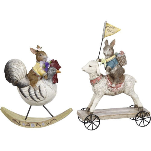 Mark Roberts Spring 2019 Rabbit Riding Toy Figurines, 11 inches, Assortment of 2