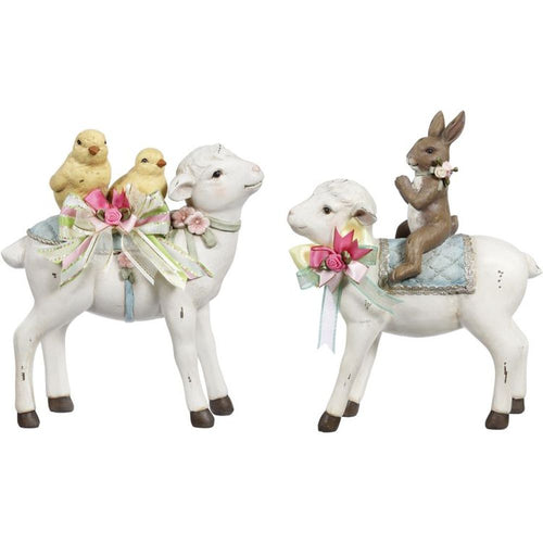 Mark Roberts 2019 Vintage Lamb with Rabbit & Chicks Figurine, Assortment of 2