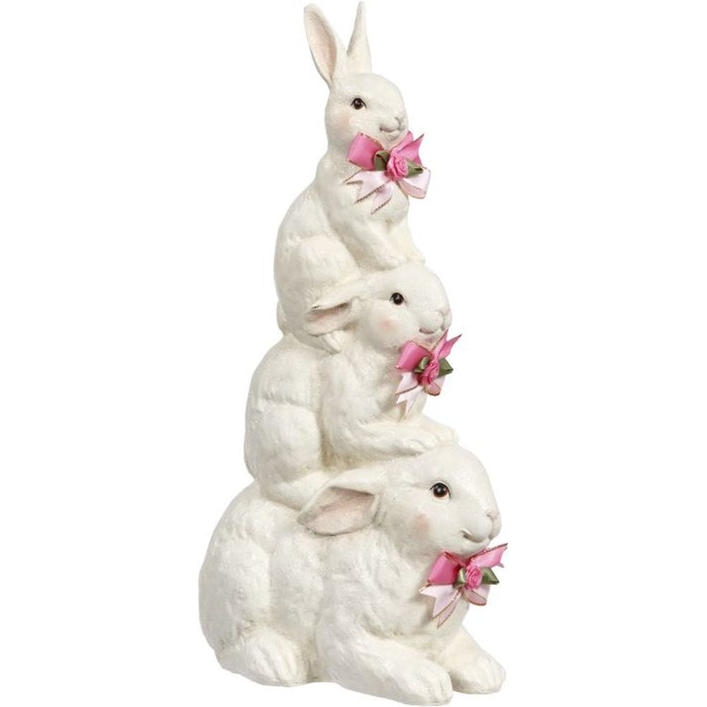 Mark Roberts Spring 2019 Rabbit Trio Stack Figurine, 13.5 inches