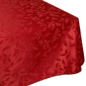 "Lenox Holly Damask Red 84"" Oblong Tablecloth"