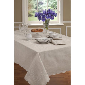 Lenox French Perle Oblong Linen Color Tablecloth