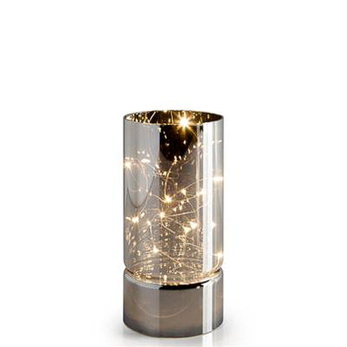 Torre & Tagus Smoke Mirror Hurricane LED Decor Lamp - Short
