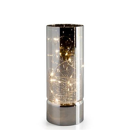 Torre & Tagus Smoke Mirror Hurricane LED Decor Lamp - Medium
