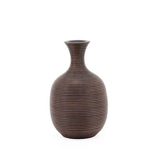 Torre & Tagus Colombo Ribbed Resin Short Bulb Vase - Brown