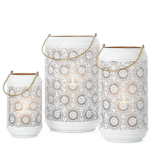 Safir Medallion Metal Cutout Lanterns Set of 3