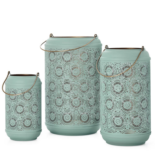 Torre & Tagus Safir Medallion Metal Seafoam Cutout Lanterns Set Of 3