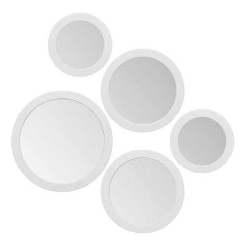 Torre & Tagus Radius Asst Set of 5 Round Mirrors - White