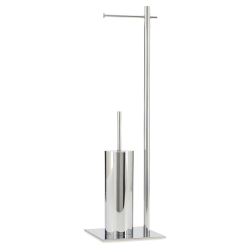 Torre & Tagus Vero Chrome Standing Toilet Paper And Brush Holder