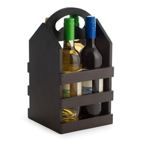 Bey Berk Four Wine Bottle Caddy with Handle
