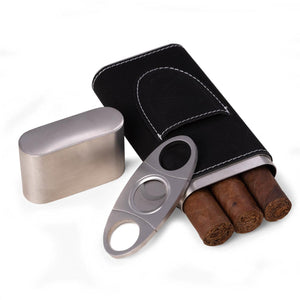 Bey Berk Leather 3 Cigar Case With Cigar Cutter