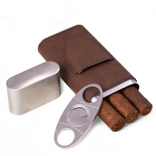 Load image into Gallery viewer, Bey Berk Leather 3 Cigar Case With Cigar Cutter