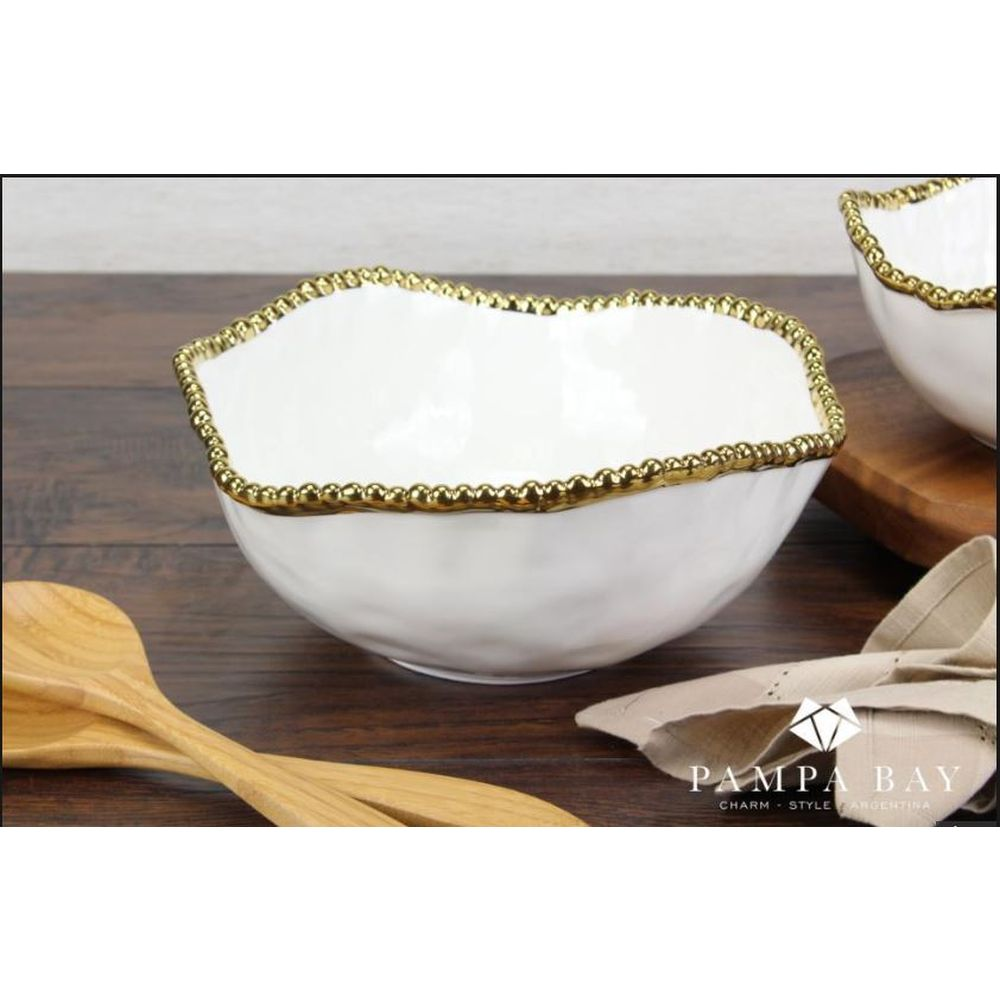 Pampa Bay Golden Salerno Porcelain Salad Bowl