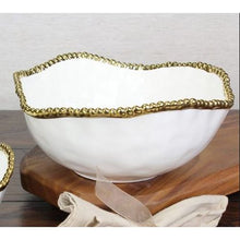 Load image into Gallery viewer, Pampa Bay Golden Salerno Porcelain Salad Bowl