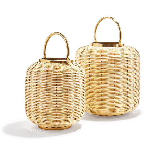 Two's Company Tozai Bali Set of 2 Woven Cane Lanterns.
