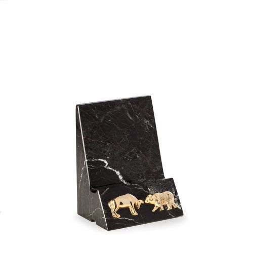 Marble Phone/Tablet Cradle with Bull and Bear Insignia