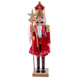 "Kurt Adler 32"" Plastic Red and Gold King Nutcracker"