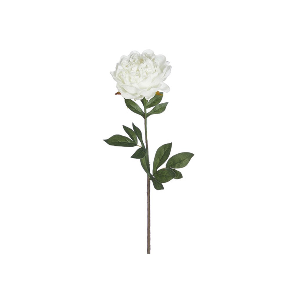 Raz Imports Iris Garden 27.5-inch Real Touch White Peony Stem Faux Flowers