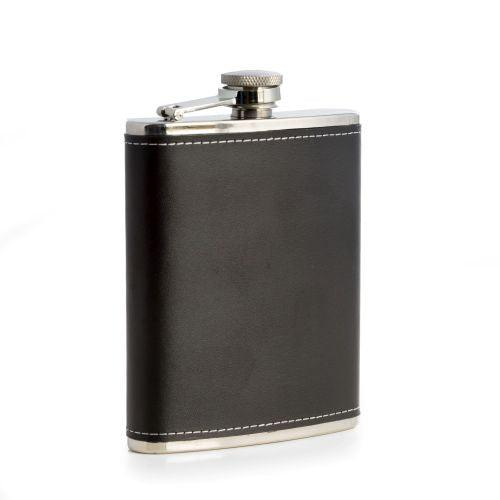 Bey Berk Stainless Steel Leather Flask, 6 oz