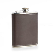 Load image into Gallery viewer, Bey Berk Stainless Steel Leather Flask, 6 oz