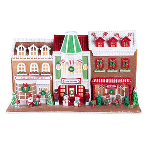 "Kurt Adler 10"" Gingerbread Santa's Village Stores With LED Light Table Piece"