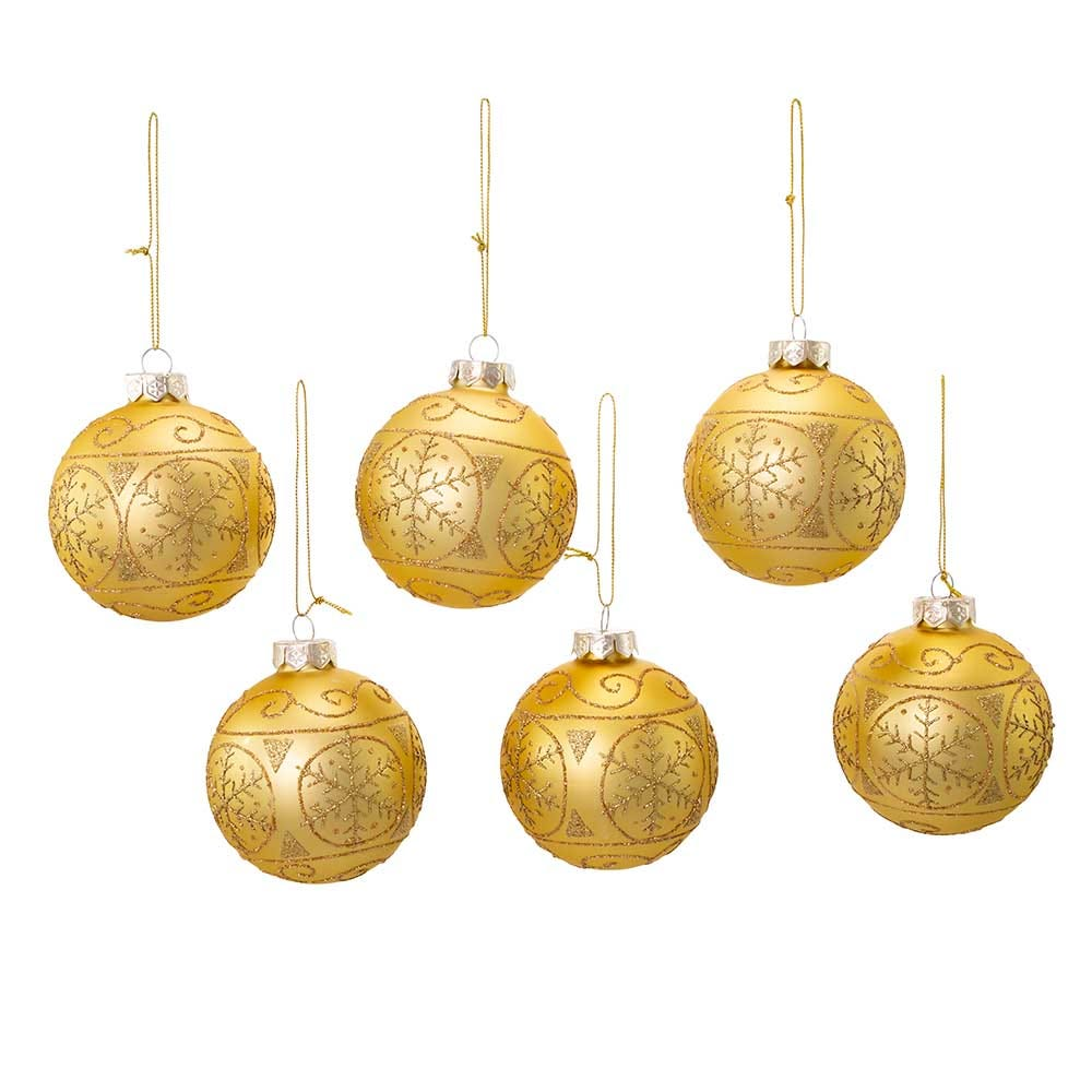 Kurt Adler 80MM Gold With Gold Snowflake Glass Ball Ornaments, 6-Piece Box Set