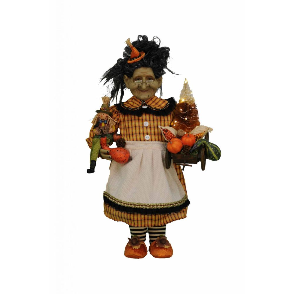 Karen Didion Originals Lighted Fall Harvest Witch Figurine, 21 Inches