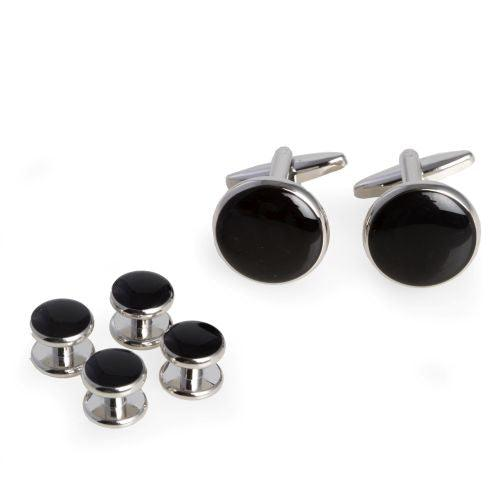 Bey Berk Black Cufflinks and Studs Set